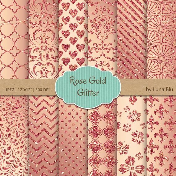Rose Gold Digital Paper Rose Gold Patterns Etsy In 2020 Gold Digital Paper Glitter Digital Paper Digital Paper