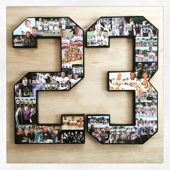 Ships Free! Photo Collage Numbers, Number Collage, Customize for your fav athlete or milestone birth