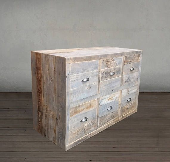 reclaimed wood grey toned wood dresser 6 drawer wood chest of drawers with pulls
