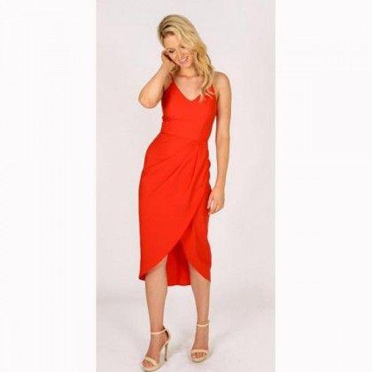 3RD LOVE Holiday Drape Dress Red