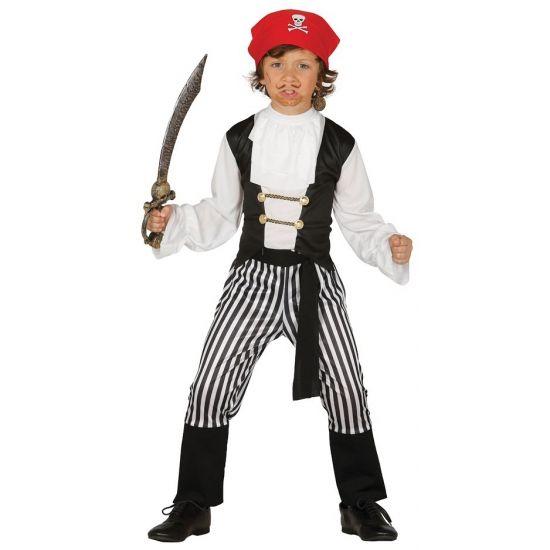 Piraten verkleedpak voor jongens. Dit piraten pak bestaat uit: een gestreepte piratenbroek, shirt, riem en een rode hoofdband met een doodskop erop.