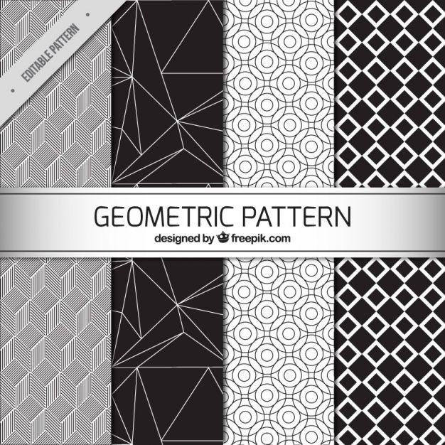 Quatro padrões geométricos preto e branco Vetor grátis