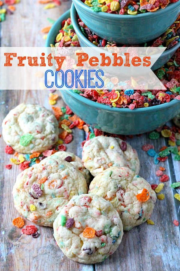 Fruity Pebbles Cookies.   My favorite cereal made into an easy cookie using cake mix, yum!!