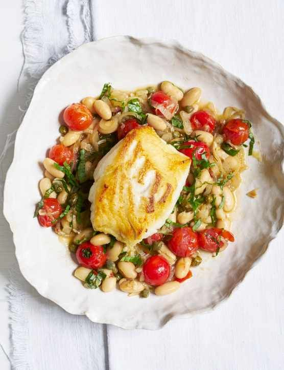 Cod with Tomato Bean Stew  This cod with tomato bean stew is a quick and healthy midweek meal. Less than 400 calories this dish is light and full of flavour