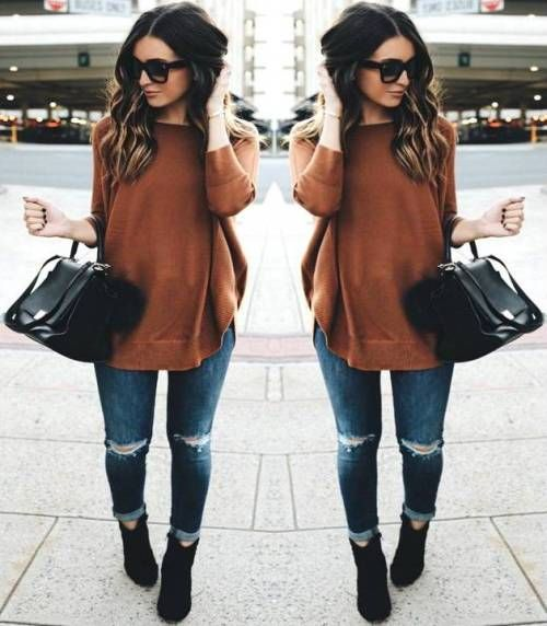 cognac-sweater-with-black-booties- Easy weekend fall outfits http://www.justtrendygirls.com/easy-weekend-fall-outfits/