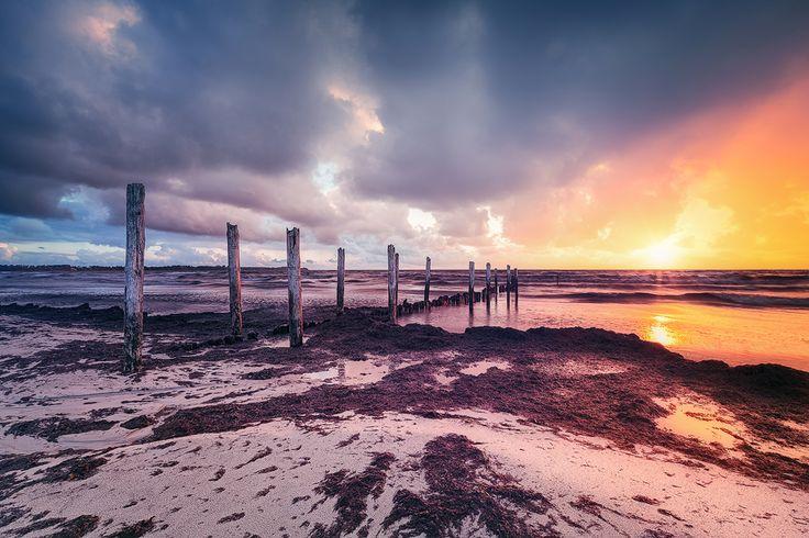 Die alte Buhne (Juliusruh / Rügen), Buhne, Dämmerung, Juliusruh, Küste, Ostsee, Sonnenaufgang, Strand, Wolken