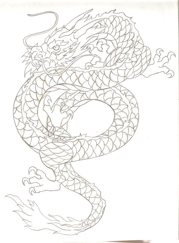First solid template for my next tattoo.    ::Asian Dragon tattoo design by Nehemya.deviantart.com::