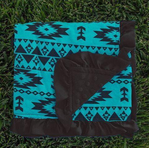 Mint Aztec Black Minky Blanket