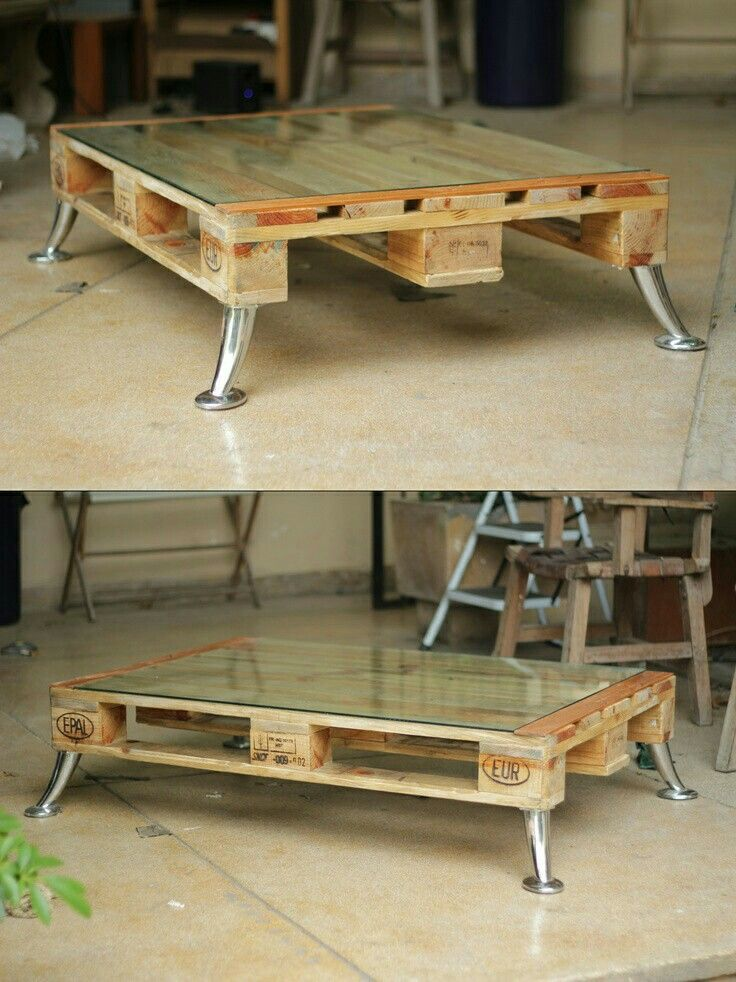 Pallet with glass top, coffee table.