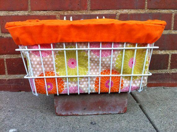 Bike basket Liner with Orange Flowers and Polka Dots