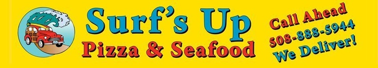 Surfs Up Pizza & Seafood, Sandwich MA. Full-service sit down meals, with your favorite wine or beer, as well as delivery.  Whether you're in the mood for pizza, subs, burgers, salads, barbecued ribs, a zesty beef burrito or our exceptional seafood selections - our menu has something for everyone. Special Kid's Make Your Own Pizza. Walk in  and you're transported to the friendly, relaxing atmosphere of a California beach - right in the heart of beautiful Cape Cod. Cape Cod Restaurants