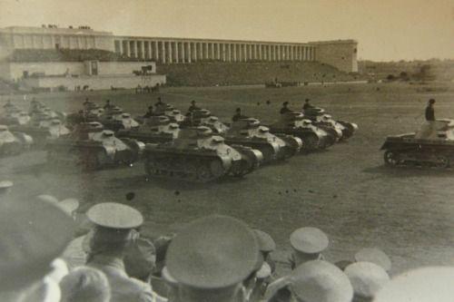 (Click for Hi-res) Original photo of Panzer I tanks on parade during a Nuremberg Rally