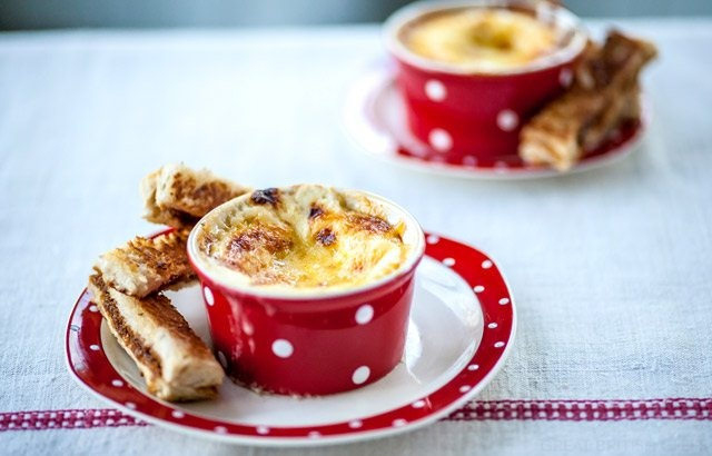 Cheesy egg with Marmite soldiers by Alyn Williams