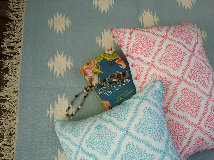 Our Pink & Blue pom pom scroll  linen cushions, perfect for your bedroom & handblock printed!