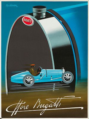 """""""Bugatti Automobile Car Art Deco Race"""" vintage poster by Pierre Fix Masseau"""