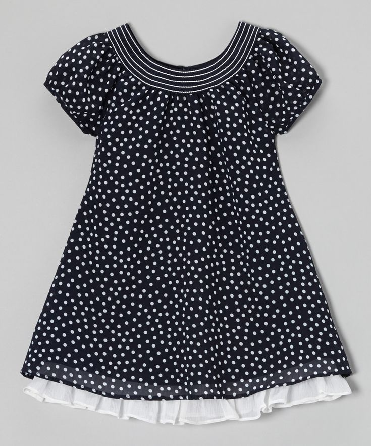 Loving this Navy & White Ruffle Hem Swing Dress - Toddler & Girls on #zulily! #zulilyfinds