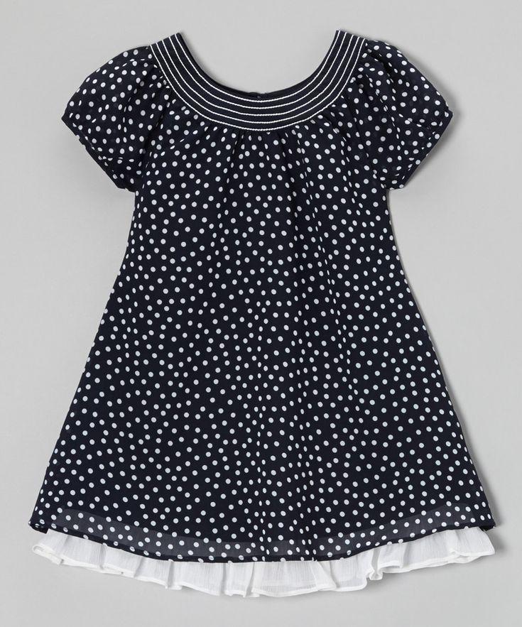 Loving this Navy & White Ruffle Hem Swing Dress - Toddler & Girls on #zulily! #zulilyfinds
