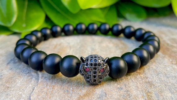 18k Gold Rhodium Plated & Swarovski Elements Leopard Head Men Bracelet, Matt Black Onyx Mens Bracelet, Protective, Strength Bracelet
