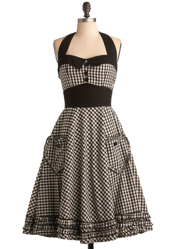 Salty and Pepper Dress - Cute! Nix the heart-shaped pockets (perhaps another shape?) and convert it from a halter to a more bra-strap-covering style, but definitely keep the black gingham!