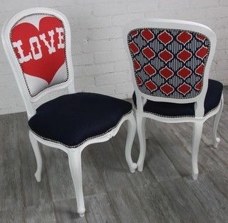 Philippe Dining Chair With Love Heart And Moroccan Print - eclectic - dining chairs and benches -  - by Room Service