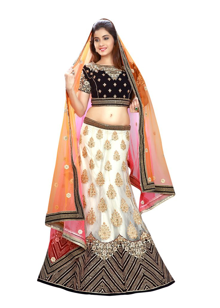 Women's Off White Color Pretty Mermaid Cut Lehenga Style With Crystals Work Dupatta