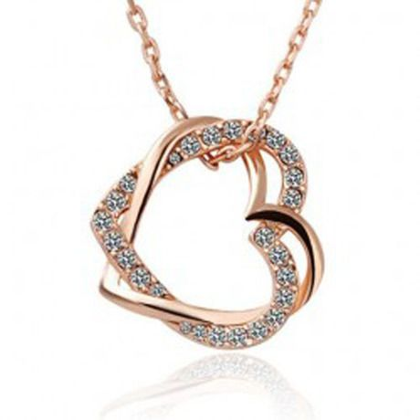 New Design Fashion Women's Summer Style 18K white gold plated austrian crystal full rhinestone double heart pendant necklace