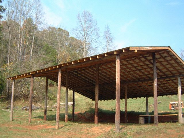 How to build an inexpensive pole barn http www for Open barn plans