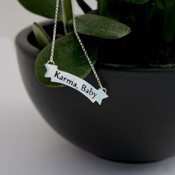 Karma, Baby Necklace/Statement Jewelry/Inspiring Motivating Women's Accessories/Strong Expressive Powerful Sterling Silver Necklace/Yoga