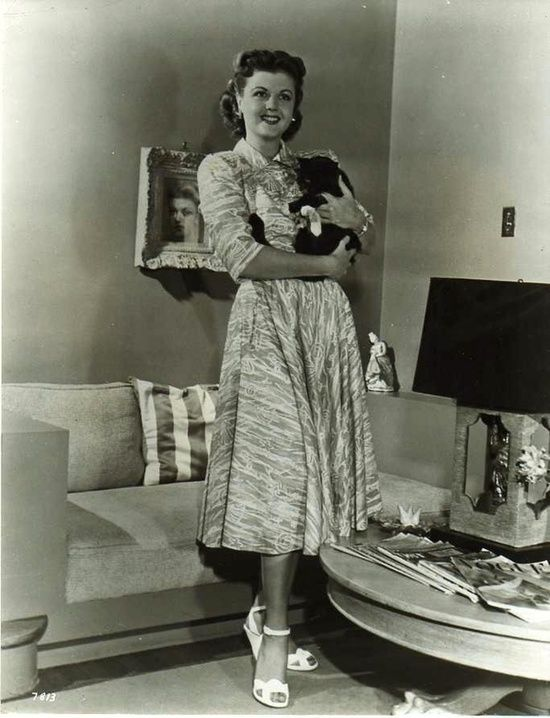 Angela Lansbury at home with her cat.