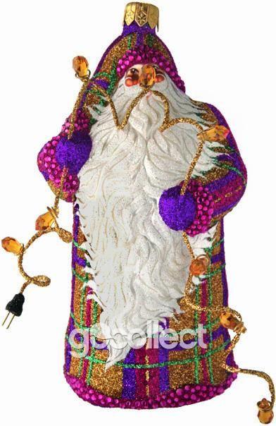 Lighting the Tree (Purple Plaid)  Patricia Breen Designs (Fuchsia, Gold, Plaid, Purple, Santa, Christmas Lights)