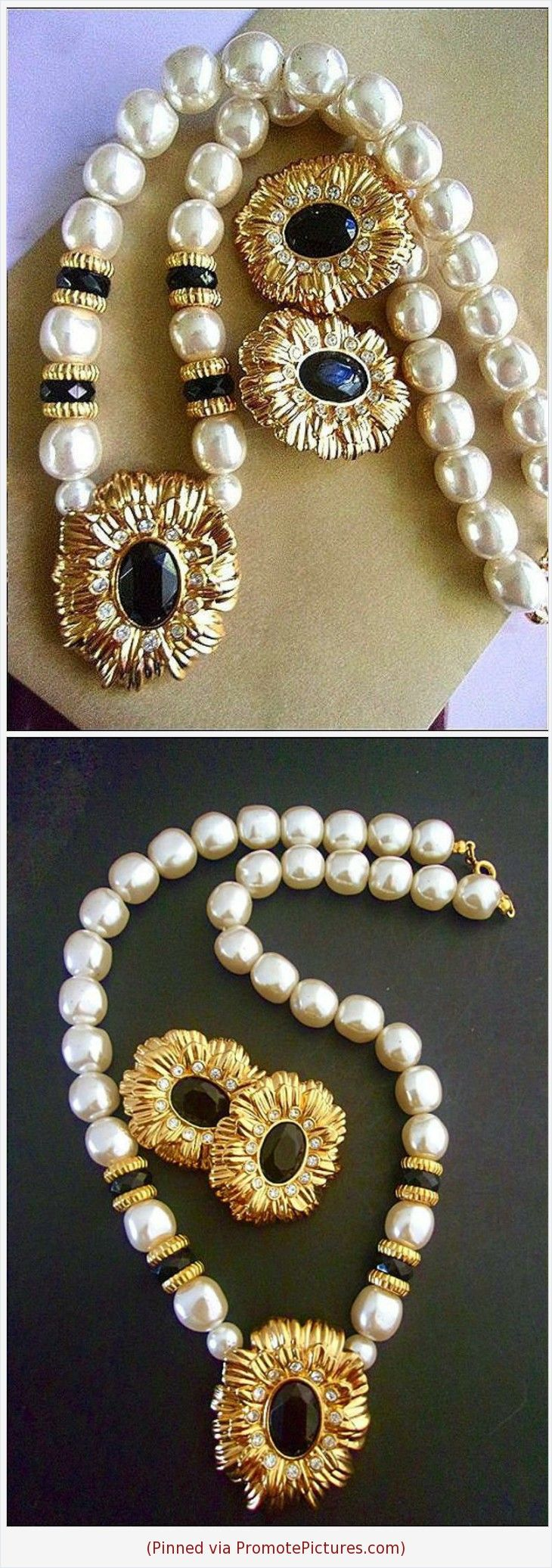Gold Tone Chain with Pearl and Rhinestone Rondells Vintage Jewelry Designer