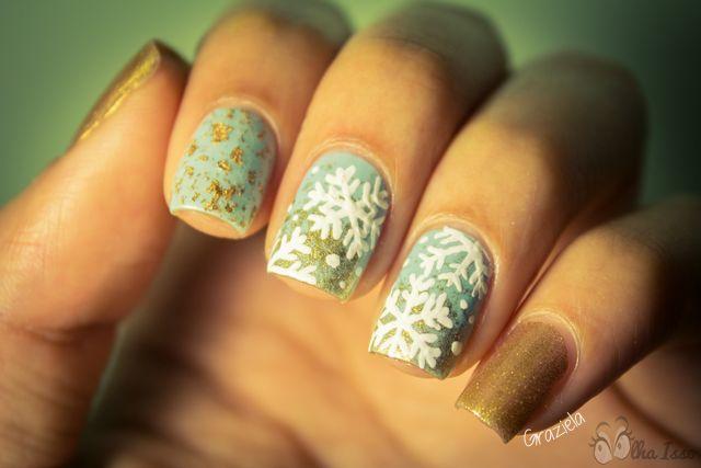 nail art tema natal! Unhas para o natal. Christimas nail art. Unha com desenho de neve.