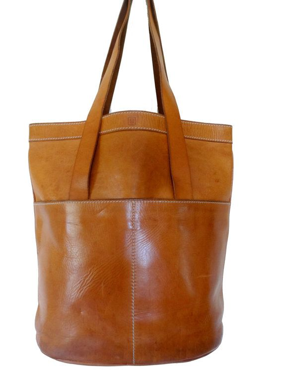 BREE Honey Caramel Leather Shopper Tote by TheArchipelago on Etsy, $225.00