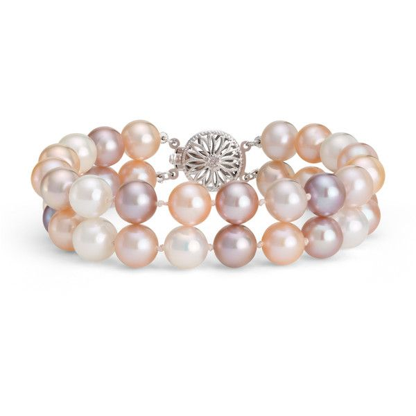 Blue Nile Double-Strand Pink Freshwater Cultured Pearl Bracelet featuring polyvore, fashion, jewelry, bracelets, accessories, filigree jewelry, filigree bracelet, blue nile, 14k bracelet and double strand bracelet