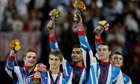 Louis Smith, Sam Oldham, Kristian Thomas, Max Whitlock and Dan Purvis speak after winning the UK's first Olympic gymnastics team medal since 1912