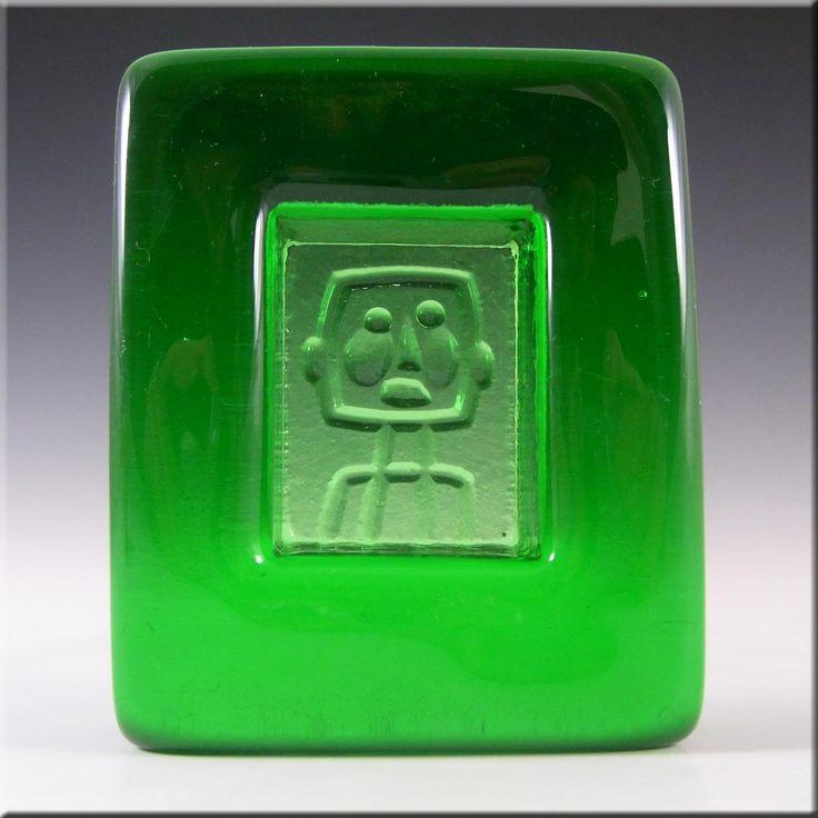 Kosta Boda Swedish Green Glass Robot Bowl by Erik Hoglund - £50.00
