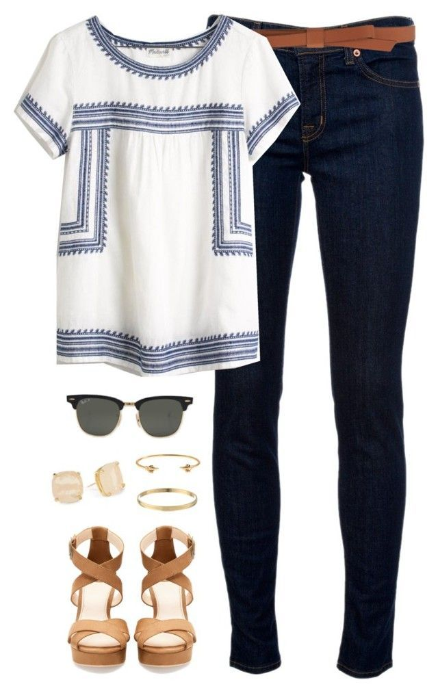 """thank you all for 9k!!"" by classically-preppy ❤ liked on Polyvore featuring J Brand, Ganni, Madewell, Pull&Bear, Ray-Ban, Kate Spade and J.Crew:"