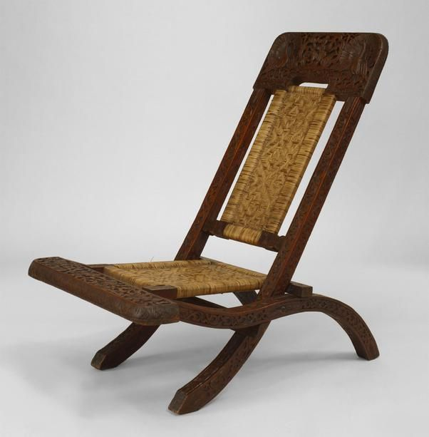 Pair of Asian Burmese (19th Cent) teak carved folding campaign style side chair