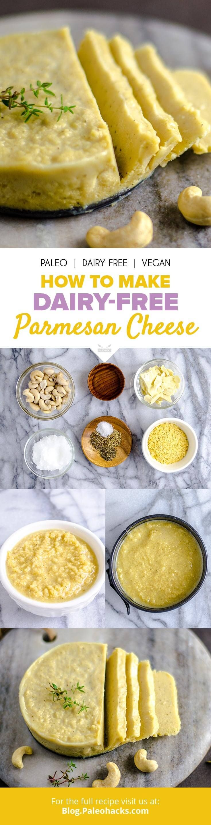 Dairy-free Parmesan cheese that's a cinch to make. Slice it on top of burgers or grate it over your favorite zoodle dish, the possibilities are endless! Get the recipe here: http://paleo.co/parmesanrcp