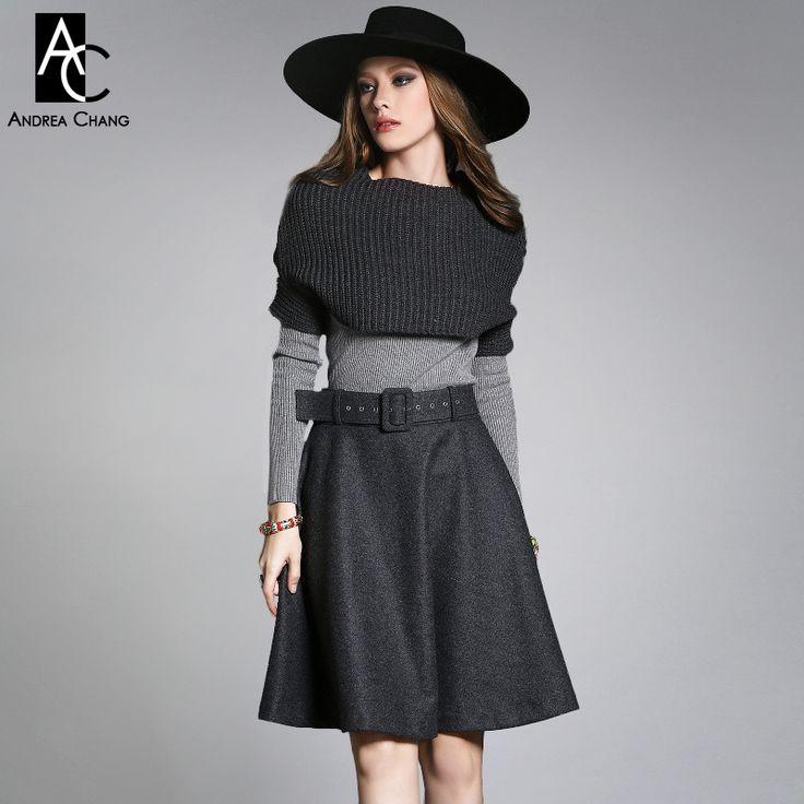 Autunno inverno progettista insieme dei vestiti delle donne vestito di pannello esterno grigio scuro marchio di moda maglione lavorato a maglia del capo gonna di lana grigio chiaro set