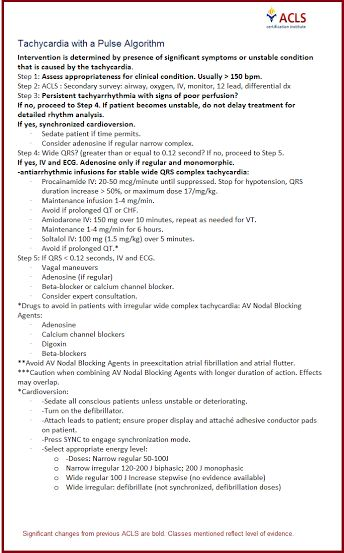 ACLS  2014 Unofficial Cheat Sheet- Tachycardia with a pulse algorithm