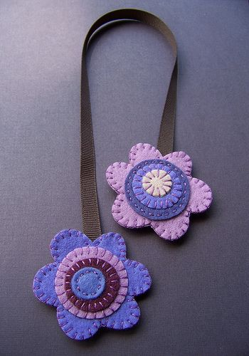 Purple Flowers double-sided felt bookmark