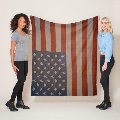 Vintage American Flag - Meduim Fleece Blanket - stylish gifts unique cool diy customize