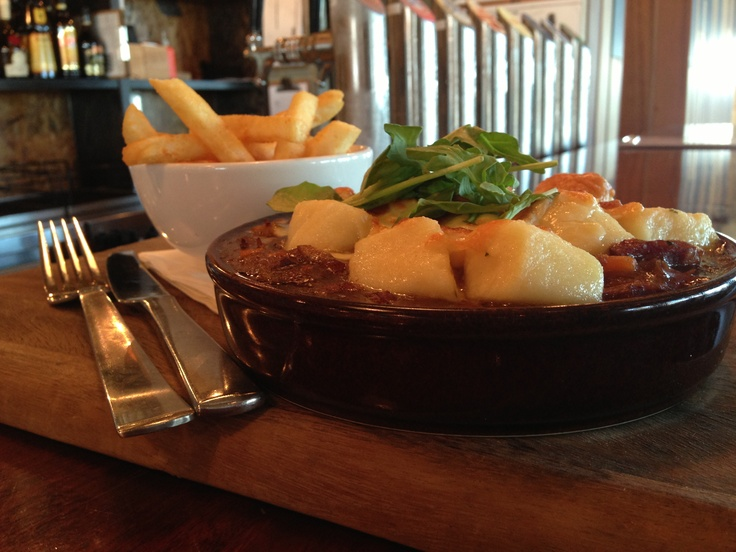 Free Range Lamb, Chorizo & Vegetable Pie topped with Potato Gnocchi and a side of chips available @ The Quarie $24