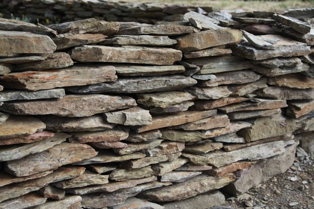 Old Drystone Wall In Back Garden,very old sedimentary rock with lots of visible fossils