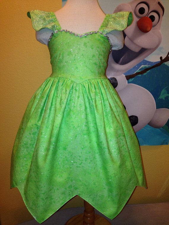 Tinker Bell Dress - Glittery Tinkerbell Inspired Dress Tinker Bell Costume    Sizing Chart (Approx. Finished Length Measurements)