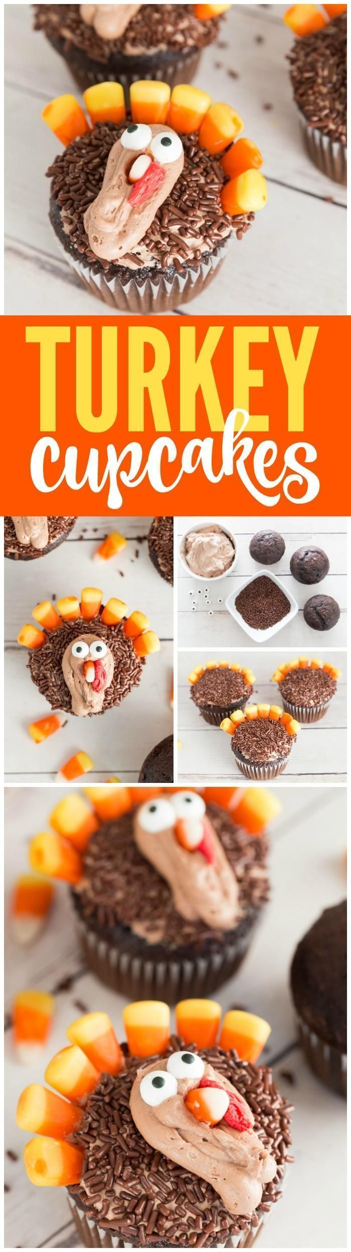 Here is an Easy Turkey Cupcakes Recipe for Thanksgiving! This fun  Thanksgiving Dessert Recipe for