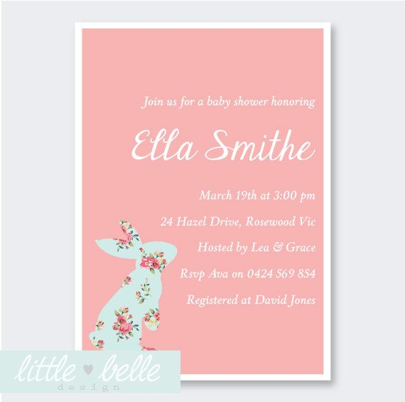 bunny baby showers baby shower invitations party invitations baby
