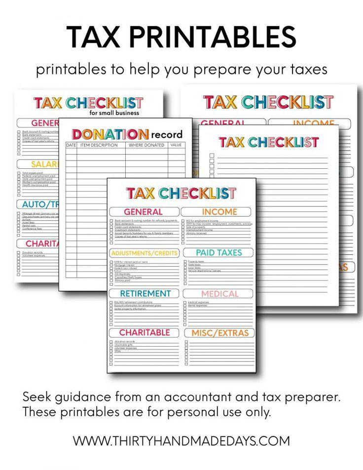 Tax Printable Forms From Thirtyhandmadedays