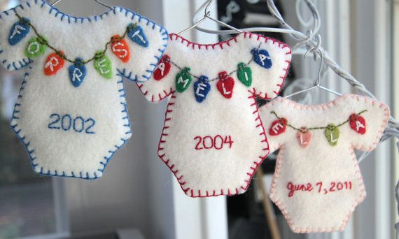 Inspiration....Adorable baby onesie ornament handcut and handstitched with babys name spelled out on Christmas lights measuring just 1/2 inch (1.3cm). On the